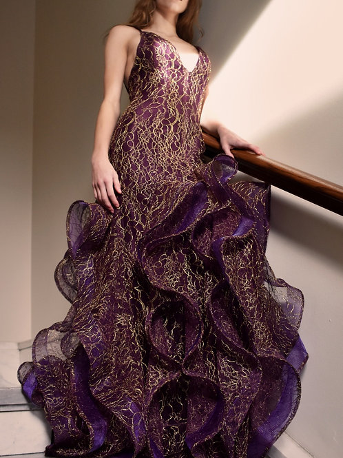 Deep V Neck Metallic Lace Ruffle Gown