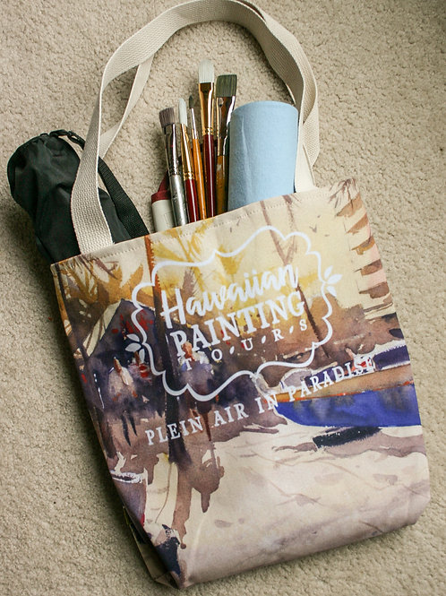 HPT Tote Bag: Boats on Beach painting