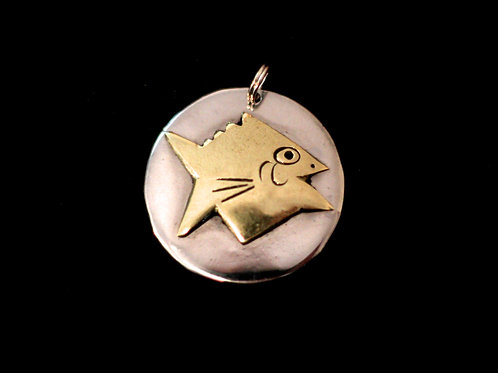 Hand Designed Brass Fish on Hammered Coin