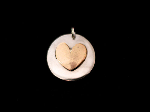 Beautiful Brass Heart on Hammered Coin