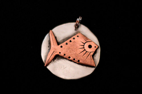 Artist Designed Copper Fish on Hammered Coin