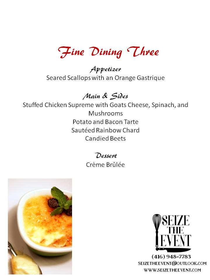 Fine Dining Menu one
