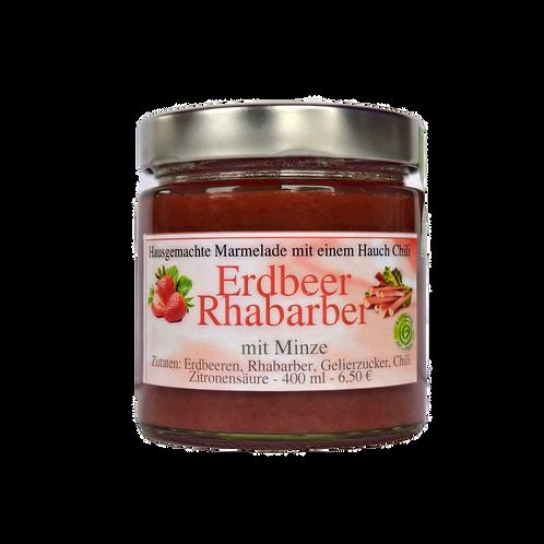 Erdbeer-Rhabarber Marmelade mit Minze - 400 ml