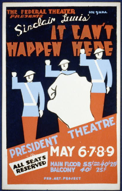 Poster for Sinclair Lewis's It Can't Happen Here