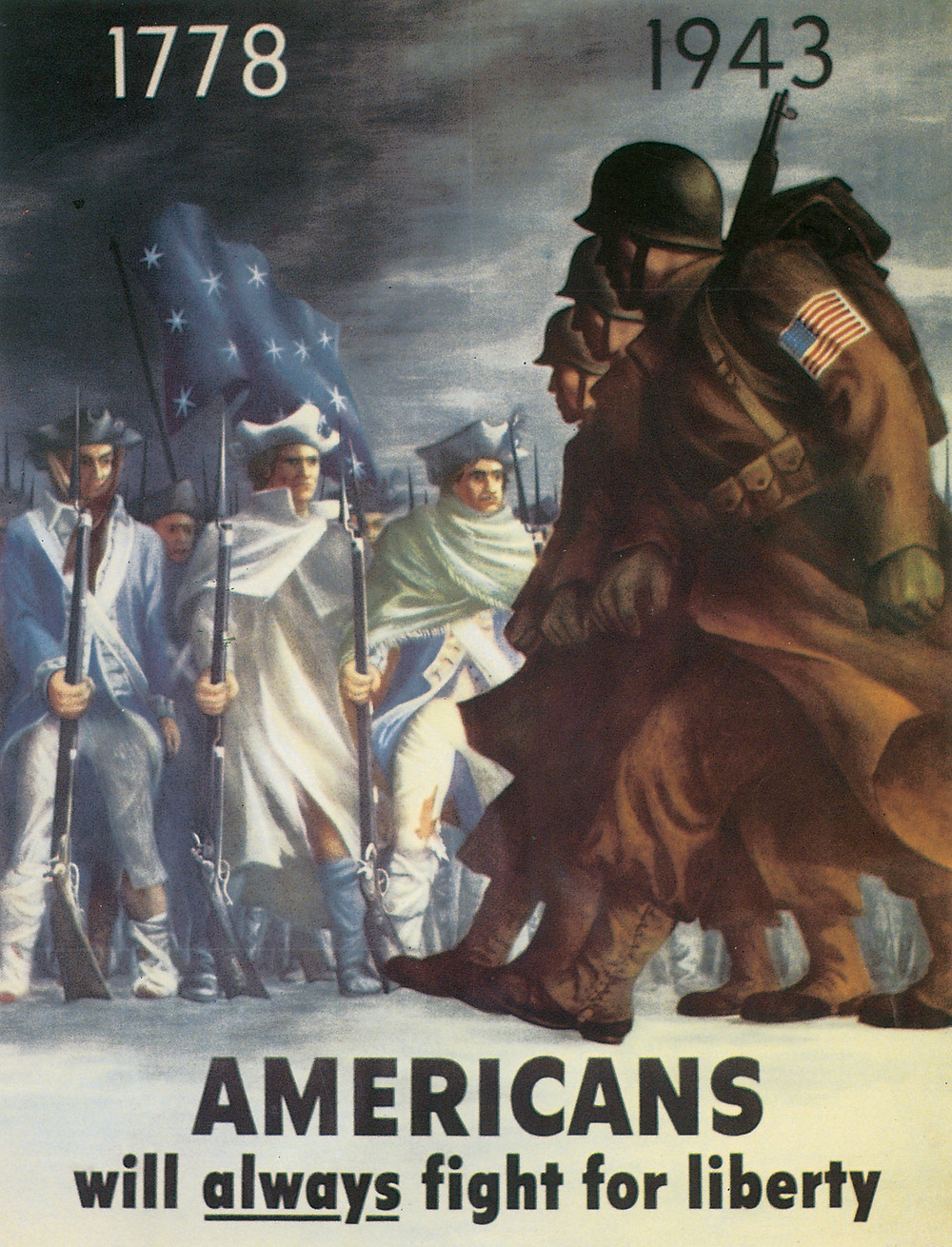 WWII poster: Americans will always fight for liberty