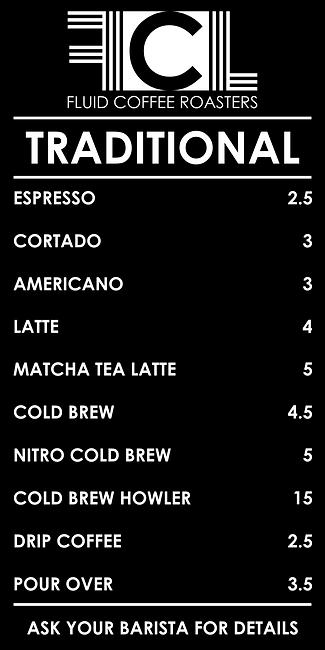 Fluid Coffee Traditional Menu