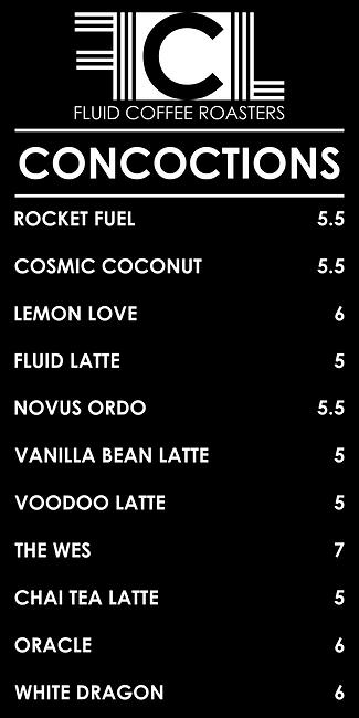 Fluid Coffee Lattes Cold Brew Menu