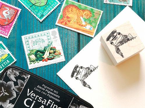 """""""Mailing Frog"""" corner stamp"""