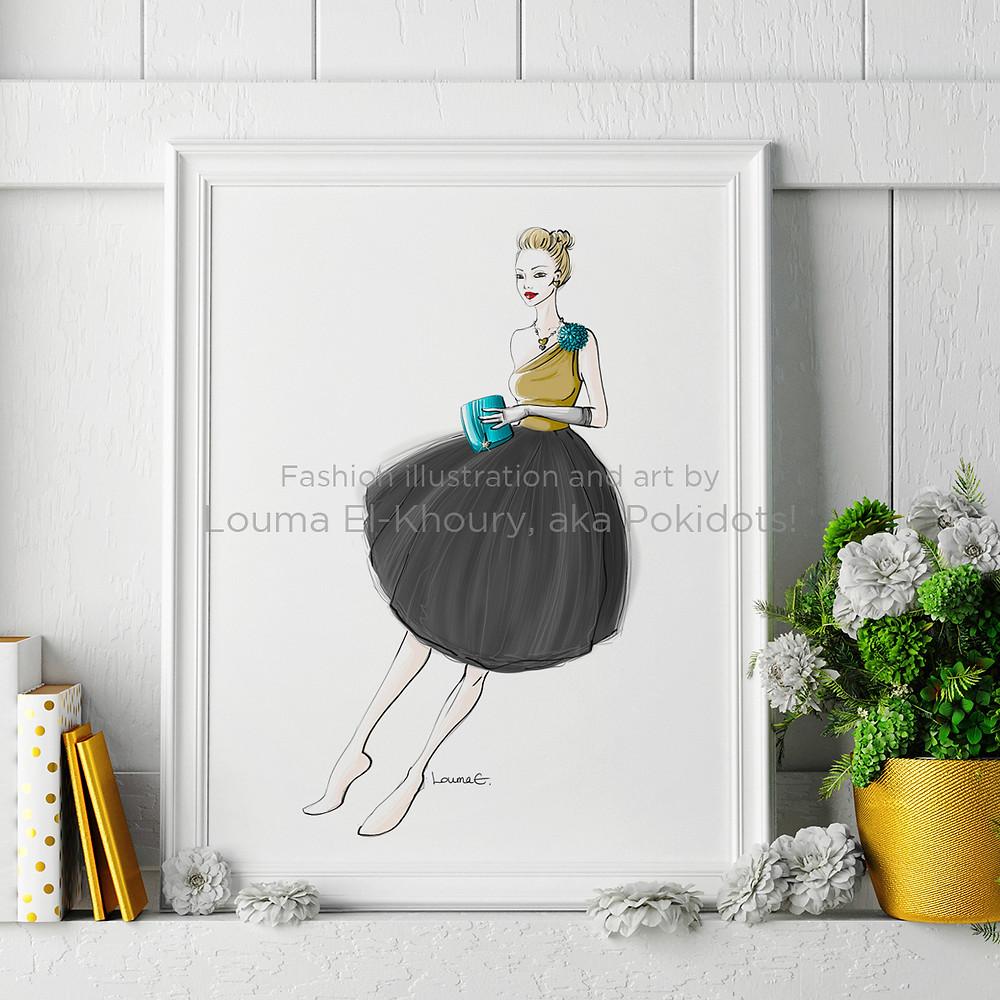 Louma El-Khoury fashion illustration, tulle dress and turquoise accessories, fashion print