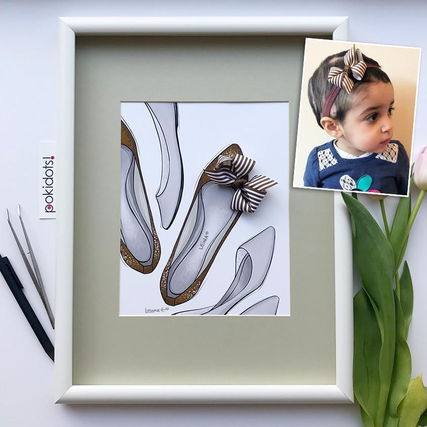 Pokidots! baby keepsake made with headband bow, for Leina.