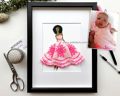 Zuri's keepsake made with her baby dress, by Pokidots!