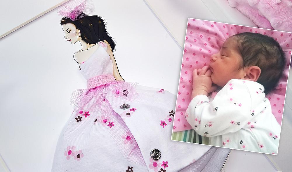 Pokidots framed baby keepsake with baby clothes, fashion girl, newborn