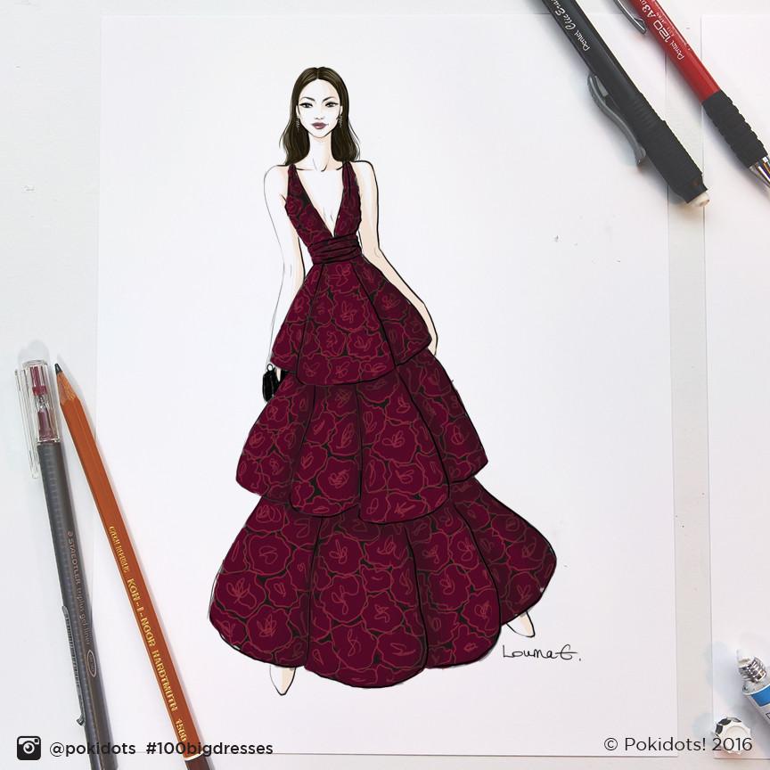 Zendaya in Marchesa by Louma El-Khoury, fashion illustration