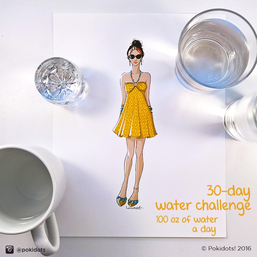Louma El-Khoury fashion illustration, yellow summer dress, fashion print