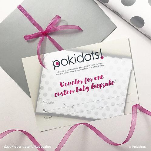 Voucher for a Pokidots! custom baby keepsake