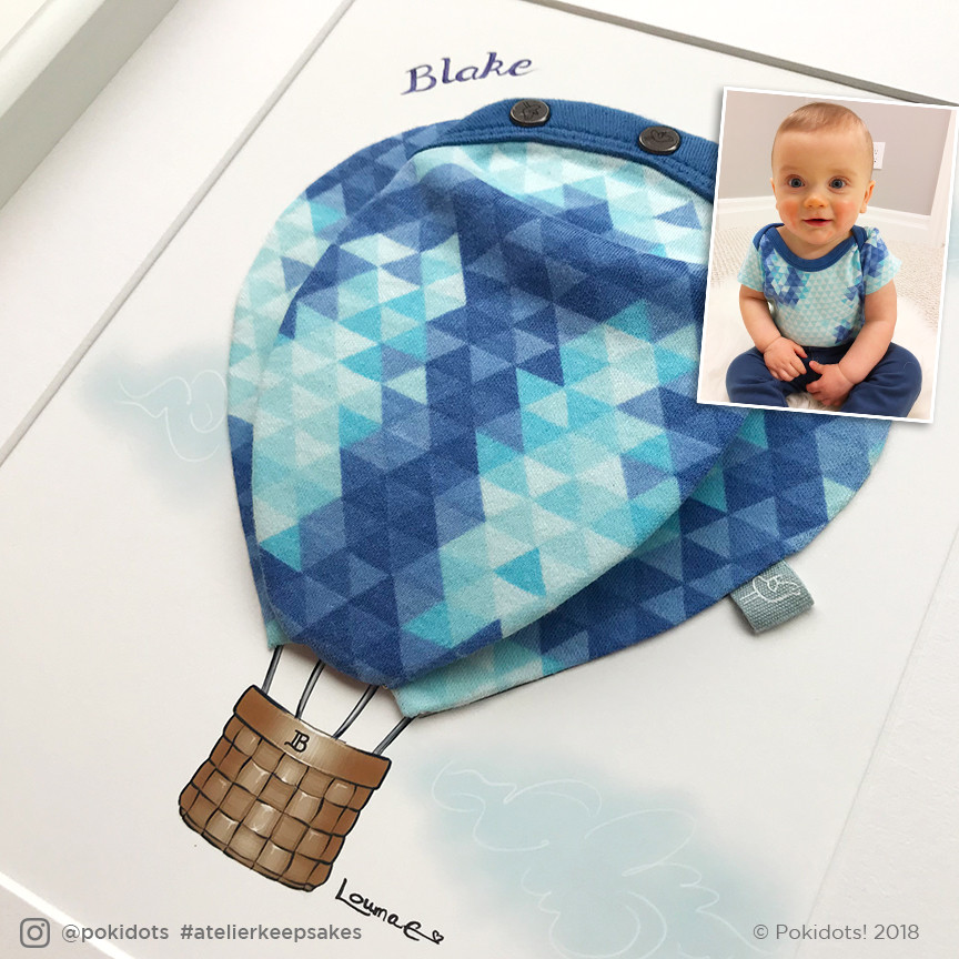 Pokidots! baby keepsake, hot air balloon for Blake