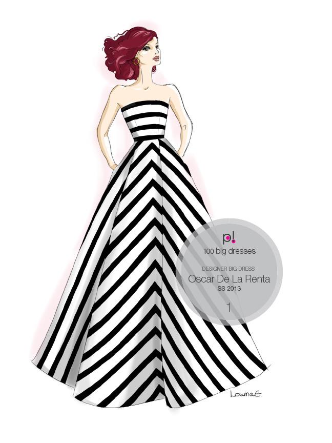 Louma El-Khoury fashion illustration, Oscar De La Renta striped dress, fashion print