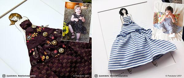 Sarah and Yasma's fashion keepsakes with custom illustrations, by Pokidots!