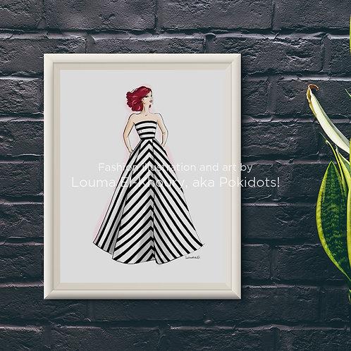 Léa - Haute couture illustration print, 8.5x11
