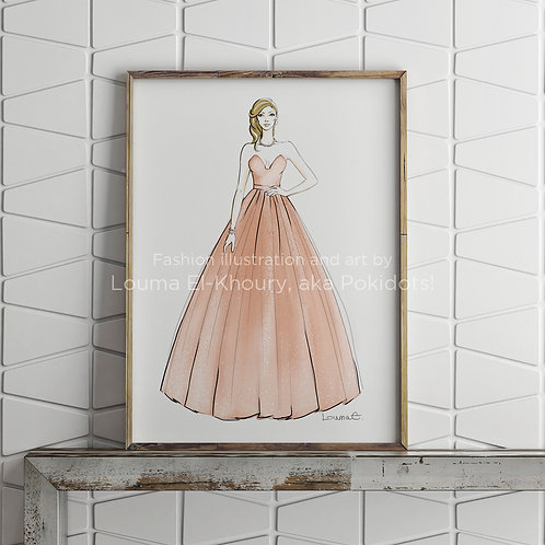 Anne - Haute couture illustration print, 8.5x11