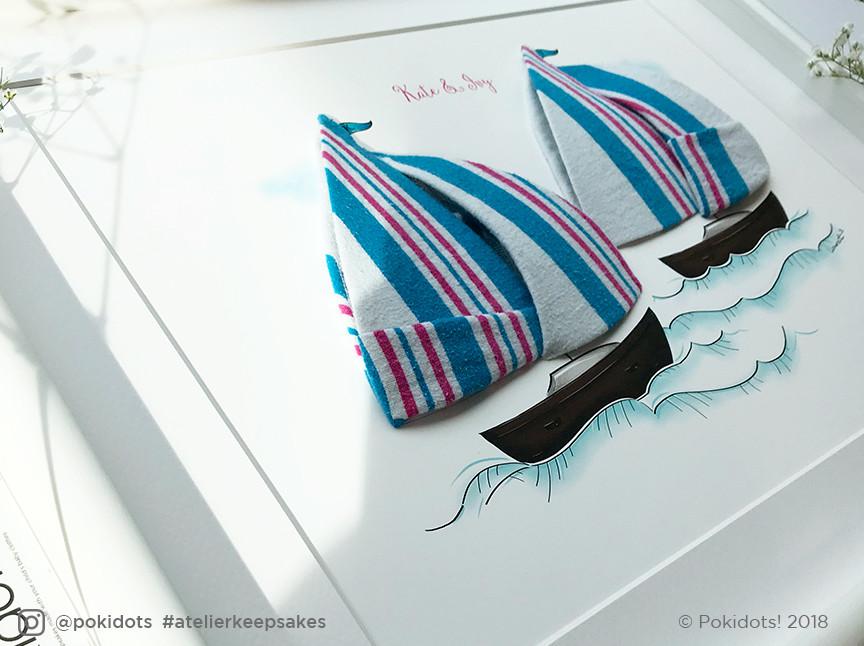 Sailboat sisters - baby keepsake close-up