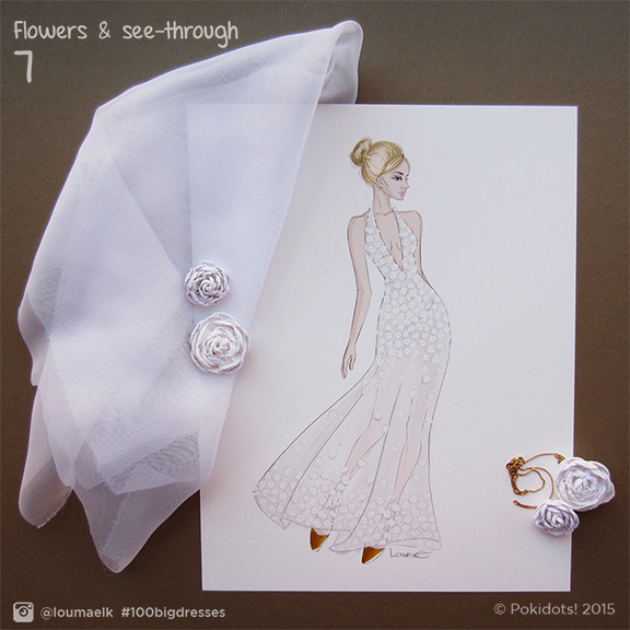Louma El-Khoury fashion illustration, bridal dress with flowers, fashion print