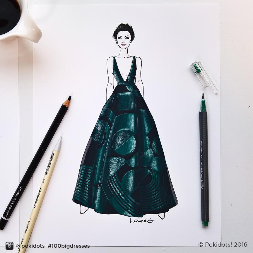 Jaimie Alexander in Genny by Louma El-Khoury, fashion illustration