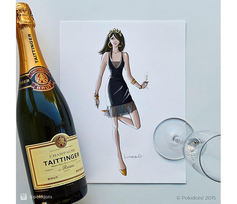 Louma El-Khoury fashion illustration, new year with Taittinger champagne, fashion print
