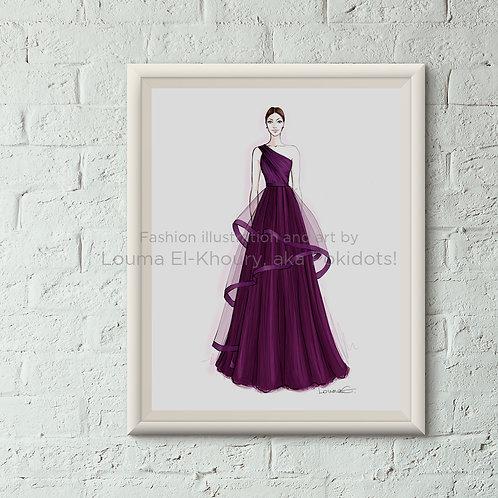 Martha - Haute couture illustration print, 8.5x11