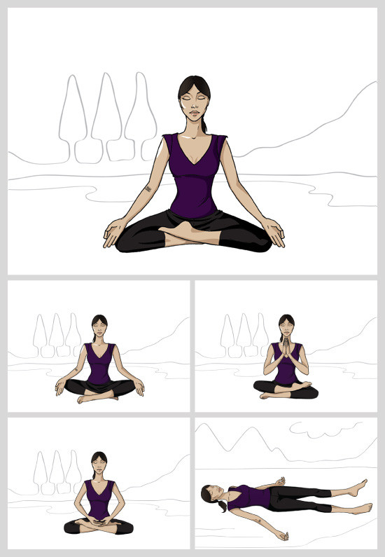 Louma El-Khoury fashion illustration, yoga poses for eBook