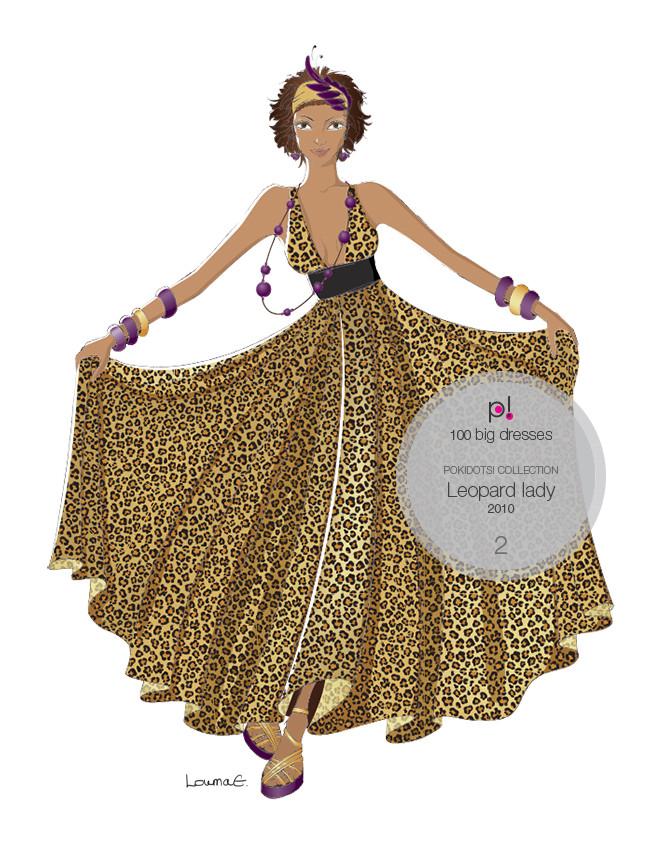 Louma El-Khoury fashion illustration, leopard dress, fashion print