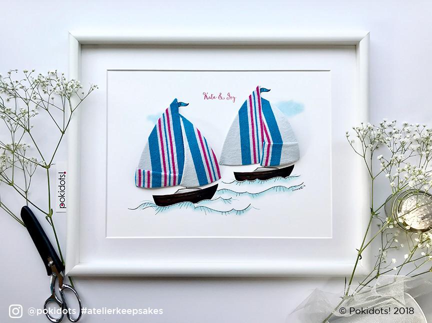 Sailboat sisters - baby keepsake