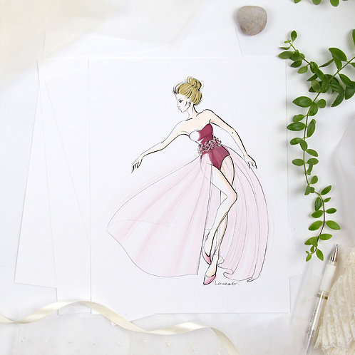 Mylene - Haute couture illustration print, 8.5x11