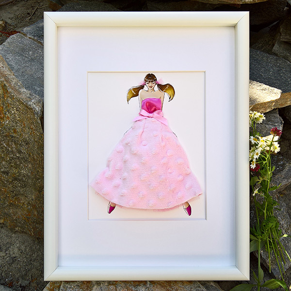 Pokidots framed baby keepsake with baby blanket, fashion girl