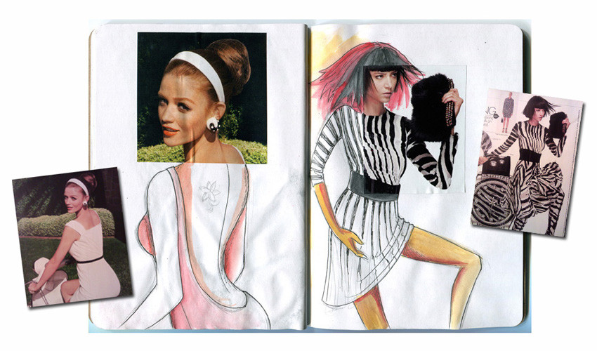 Louma El-Khoury fashion illustration, sketchbook project