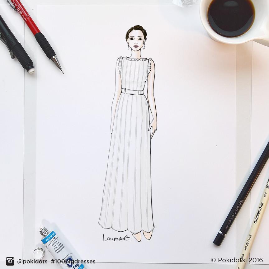 Alicia Vikander in Louis Vuitton by Louma El-Khoury, fashion illustration