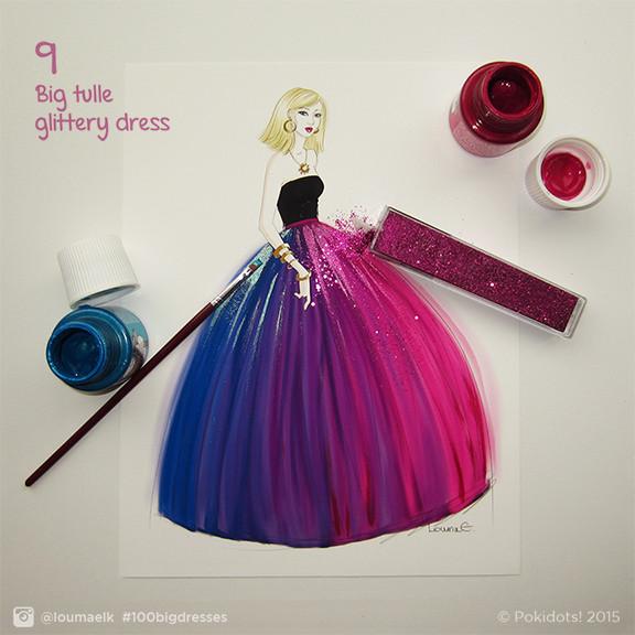 Louma El-Khoury fashion illustration, tulle dress and glitter, fashion print