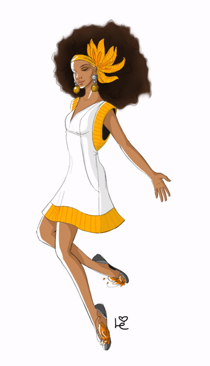 Louma El-Khoury fashion illustration, black history month, black woman with white dress, fashion print