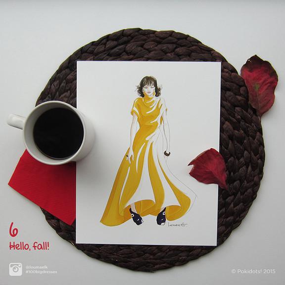 Louma El-Khoury fashion illustration, yellow fall jersey dress, fashion print