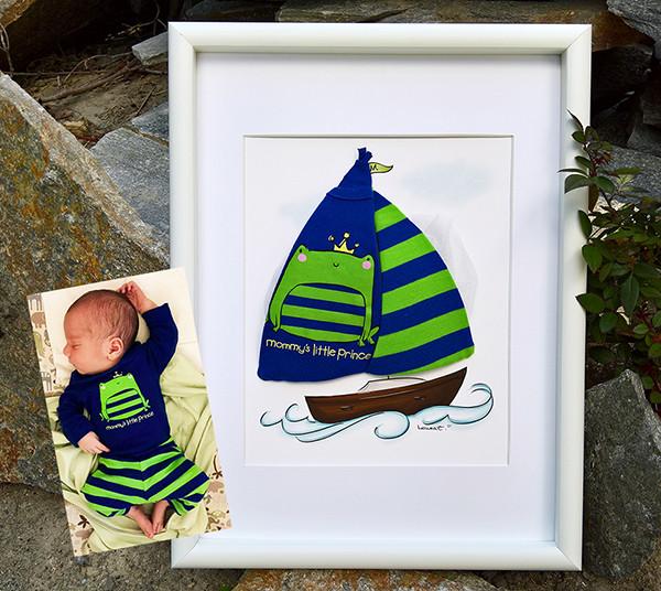 Pokidots framed baby keepsake with baby clothes, sailboat