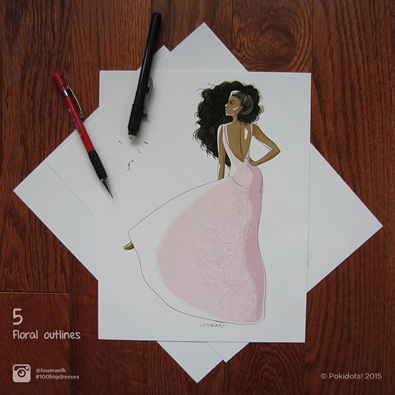 Louma El-Khoury fashion illustration, pink dress with flower outlines, fashion print