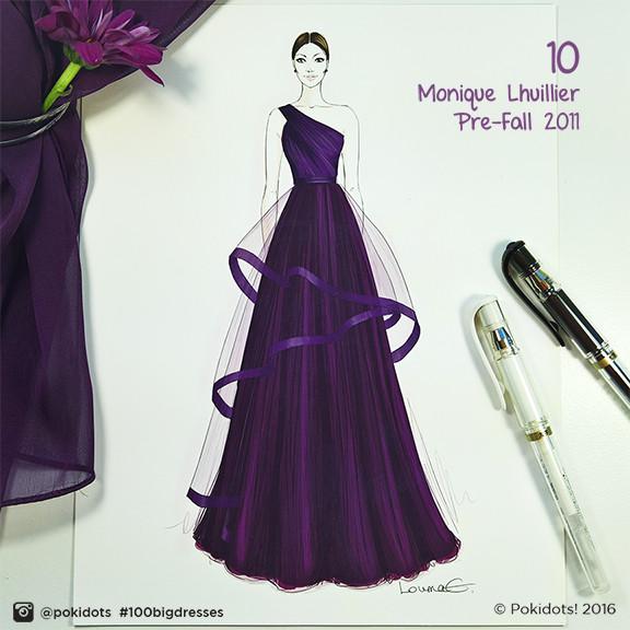 Louma El-Khoury fashion illustration, Monique Lhuillier haute couture, fashion print