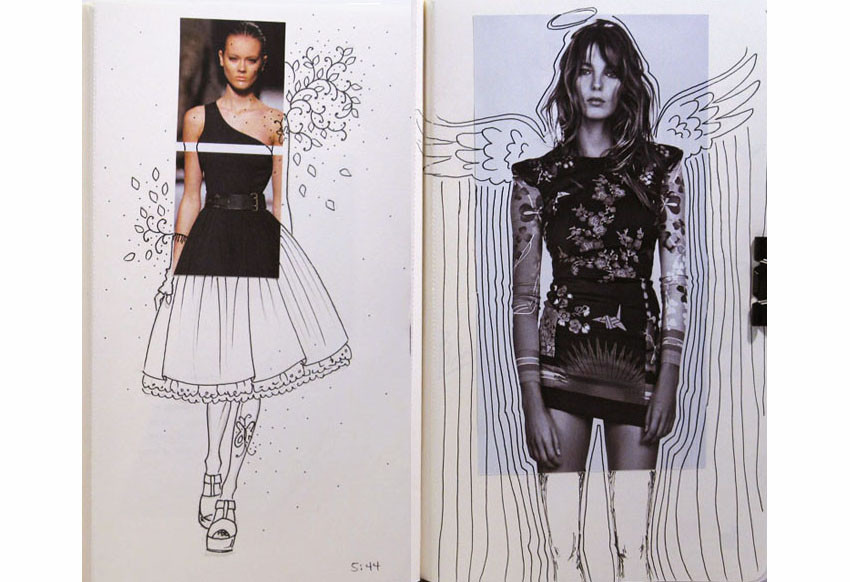 Louma El-Khoury fashion illustration, sketchbook project, fashion print