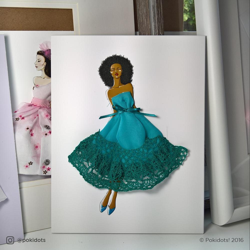 Pokidots framed keepsake gift, afro hair and crochet dress