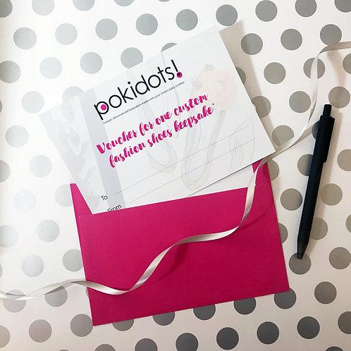 Voucher for a Pokidots! custom fashion shoes keepsake
