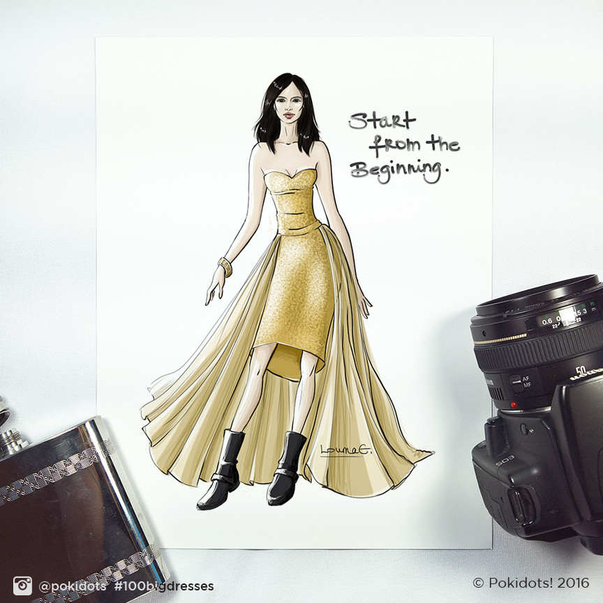 Louma El-Khoury fashion illustration, Jessica Jones' Krysten Ritter, fashion print