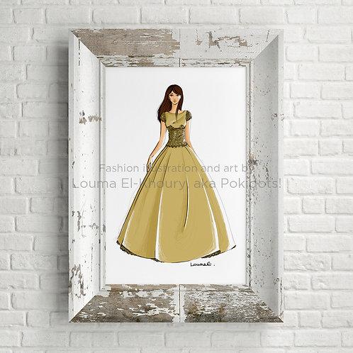 Clara - Haute couture illustration print, 8.5x11