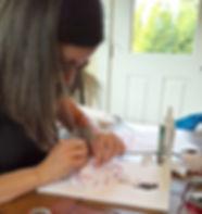 Pokidots! artist, Louma El-Khoury, creating her daughter's keepsake.