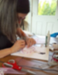 Pokidots! artist, Louma El-Khoury, creating her daughter's keepsake.