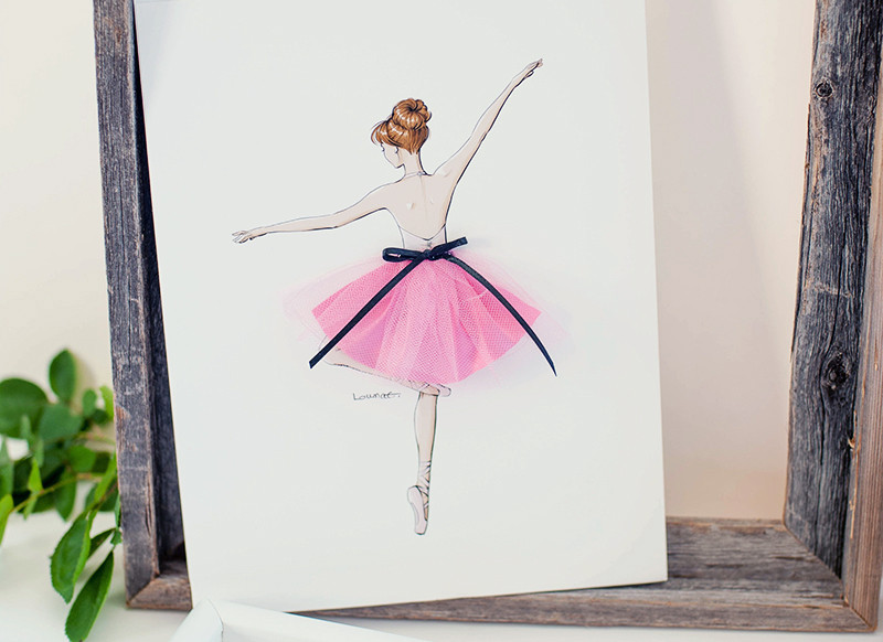 Pokidots ballerina framed keepsake gift with pink tutu